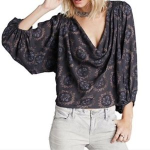 Free People Cowling Around Peasant Blouse